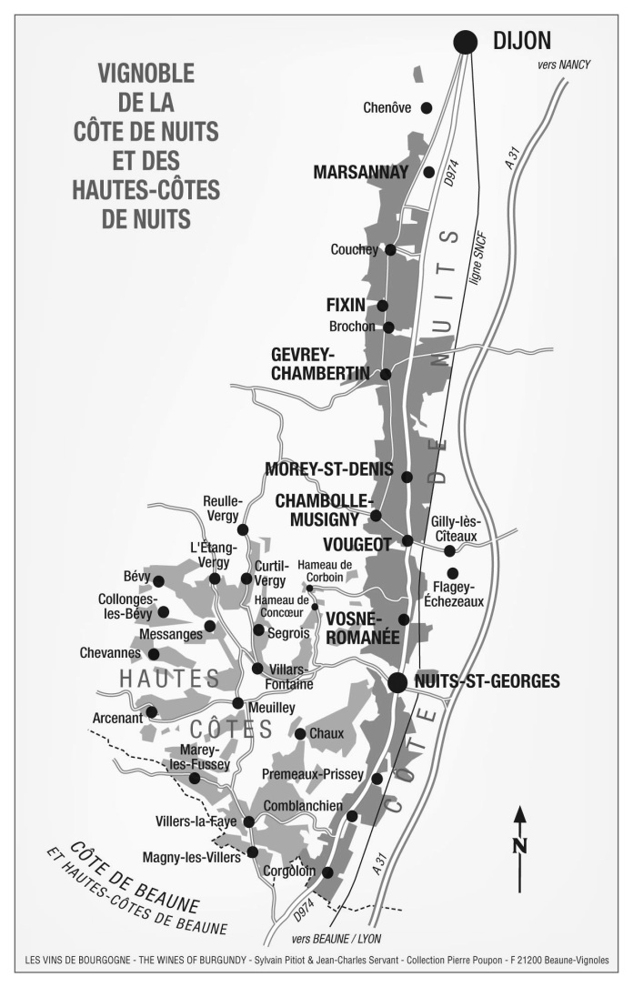Karta Côte de Nuits